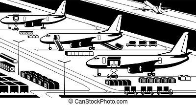 flugzeuge, an, ladung, flughafen