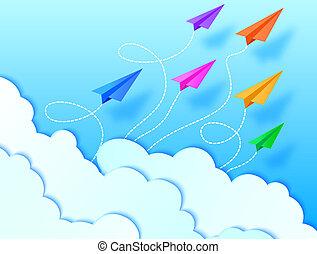 flugzeuge, himmelsgewölbe, und, wolkenhimmel