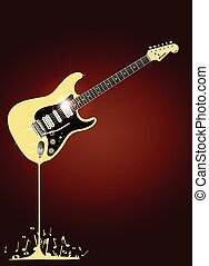 Fluid Guitar - A rock guitar melting down with musical notes...