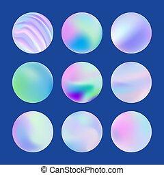 Fluid holographic shapes, gradient iridescent logo set.