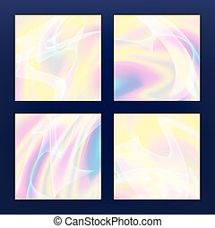 Fluid Iridescent Multicolored Vector Background. Illustration Of Pastel Fluids, Holographic Neon Effect.