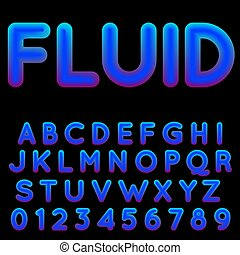 Fluid shapes font with hipster colors.