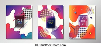 Fluid vibrant gradient color abstract covers set. Colorful...