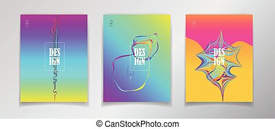 Fluid vibrant gradient color abstract covers set. Surreal...