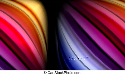 Fluid wavy multicolored lines on black, vector background,...