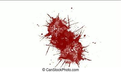fluide, &, peinture eclabousse, encre, rouges