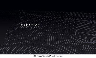fluide, points, forme, créatif, particules, lisser, cercle, vague, résumé, curvy, écoulement, fond