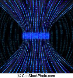 fluir, azul, caixas, representando, código binário, sendo,...