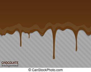fluir, drops., vetorial, illustration., chocolate