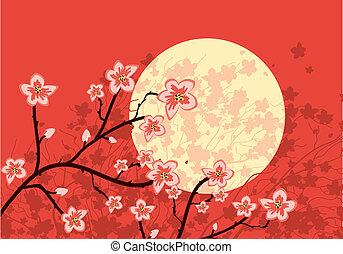 fluir, sakura, árbol