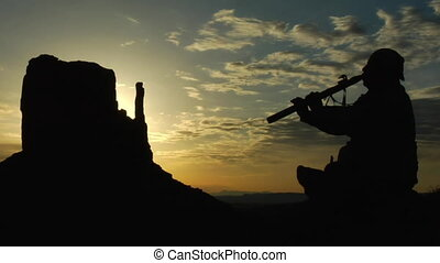 fluit, amerikaan, monument vallei, spelend, zonopkomst,...