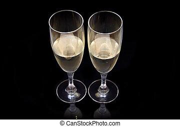 fluit, met, mousserende wijn, op, black