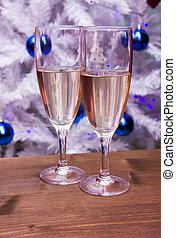 fluit, met, mousserende wijn, voor, kerstboom
