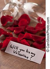 fluit, valentines, champagne, cadeau, dag