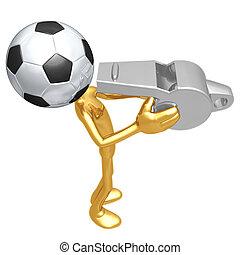 fluitje, de voetbal van het voetbal