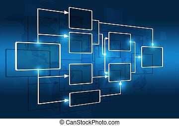 flujo, gráfico, empresa / negocio