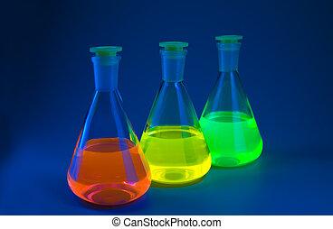 fluorescence, en, frascos, en, azul