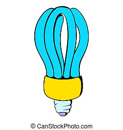 Fluorescence lamp icon cartoon - Fluorescence lamp icon in...
