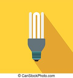 Fluorescence lamp icon, flat style - Fluorescence lamp icon...