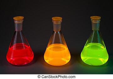 fluorescence, tres, frascos