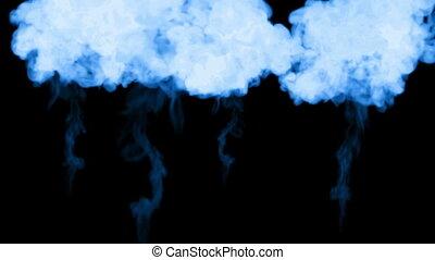 fluorescent blue ink dissolves in water on black background with luma matte. 3d render V1