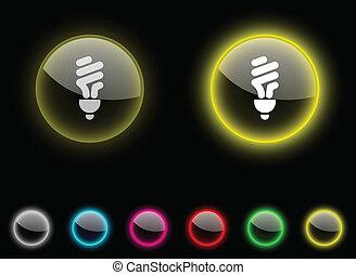 Fluorescent bulb button..