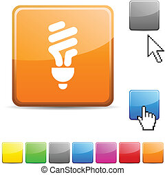 Fluorescent bulb glossy button.