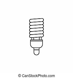 Fluorescent bulb icon, outline style