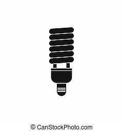 Fluorescent bulb icon, simple style