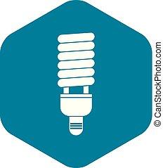 Fluorescent bulb icon, simple style - Fluorescent bulb icon...