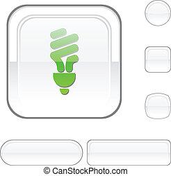 Fluorescent bulb white button.