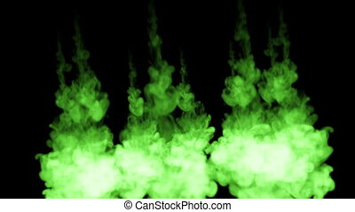fluorescent green ink dissolves in water on black background...