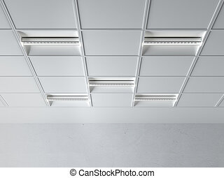 fluorescent lamp on the ceiling isolated on a white ...