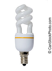 Fluorescent lamp with opaque glass bulb. White background.
