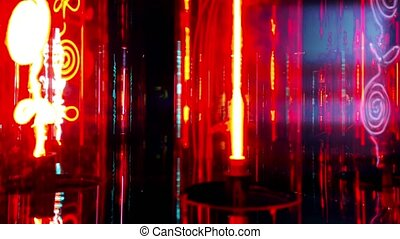 Fluorescent lamps with red, blue, violet light