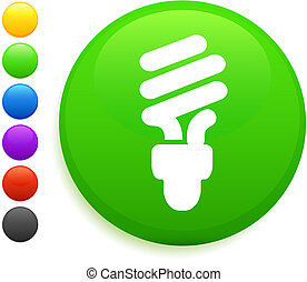 fluorescent light bulb icon on round internet button