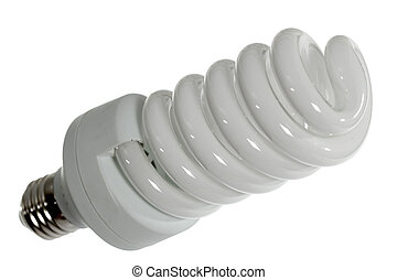 Fluorescent light bulb, isolated on a white background