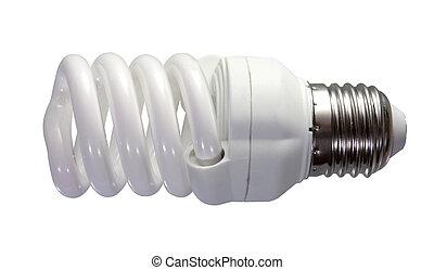 fluorescent light bulb. Isolated on white