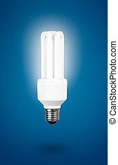Fluorescent Light Bulb on a blue background � energy concept