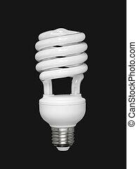 Fluorescent light bulb over black