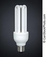 Fluorescent light bulb over gray