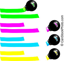 Four fluorescent markers draw a colored trail. Green, pink, blue and yellow. Isolated vector on white background.