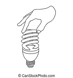 Fluorescent, saving light bulb in hand. Electric lamp single...