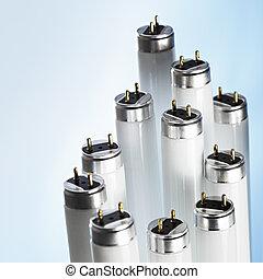 New fluorescent light tubes on blue