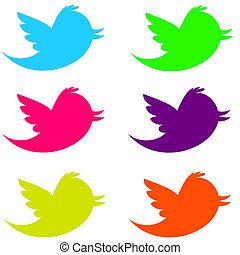 Fluorescent Twitter Birds - 6 fluorescent twitter birds