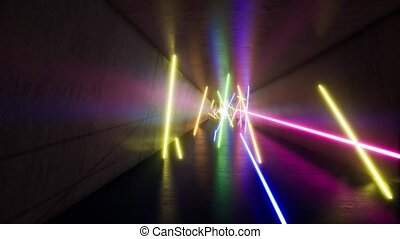 Fluorescent ultraviolet light, glowing neon lines, moving...