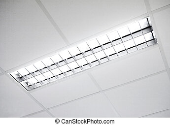 fluorescente, mueble empotrado, luz