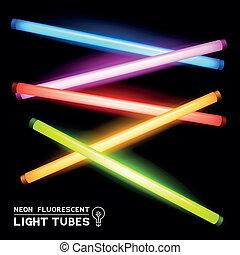 fluorescente, neón, tubos, luz