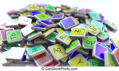 Fluorine block on the pile of periodic table of the chemical elements blocks. Chemistry related intro animation