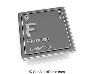 Fluorine. Chemical element. 3d